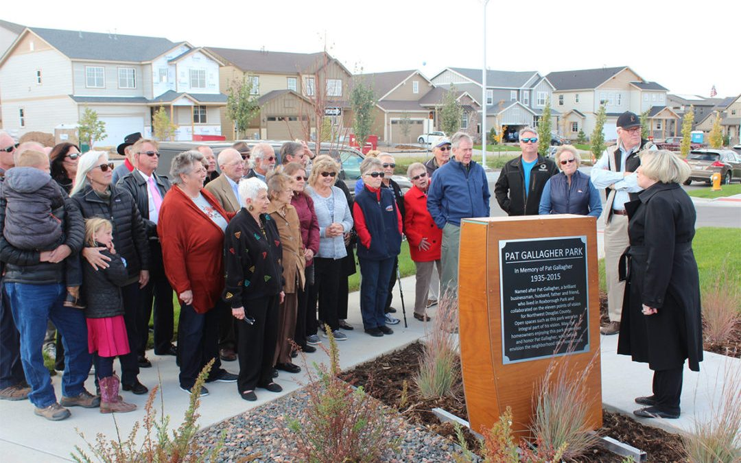 Sterling Ranch Park Dedication Celebrates Memory of Roxborough Resident Pat Gallagher